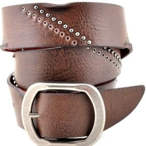 Accessories - Genuine Leather Studded Belt - Brown